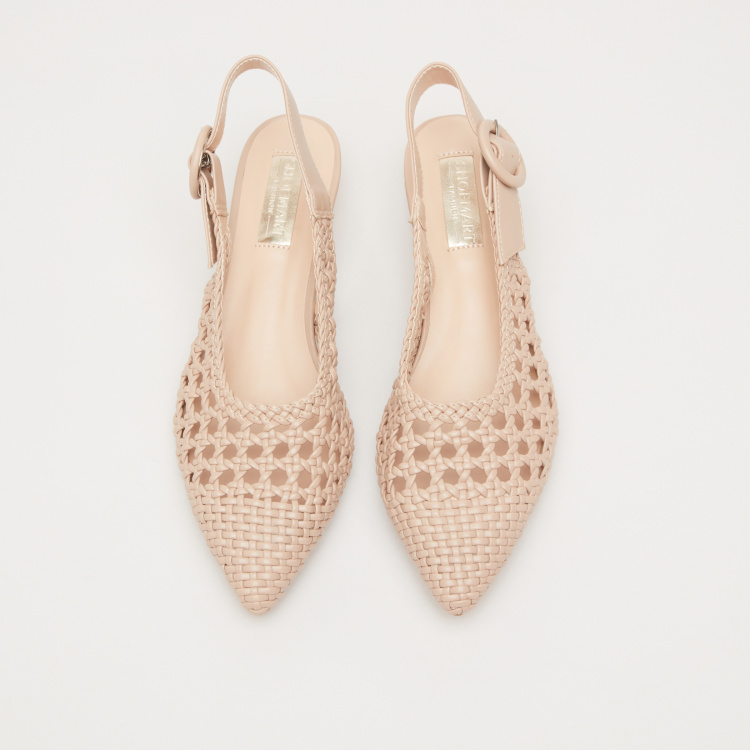 Weave Textured Slingback Shoes