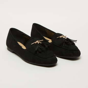 Metallic Detail Slip-On Loafers with Tassels