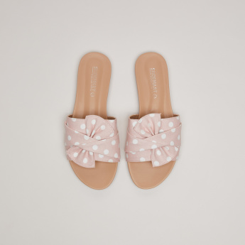 Polka Dot Printed Slides with Bow Applique