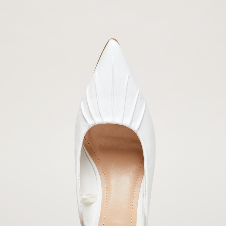 Ruched Detail Mules with Kitten Heels