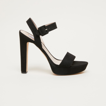 STEVE MADDEN Block Heel Sandals with Buckle Closure