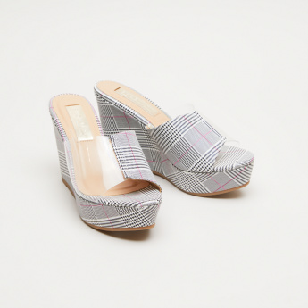 Chequered Slip-On Wedges