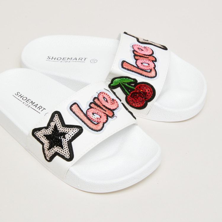 Applique Detail Slide Slippers
