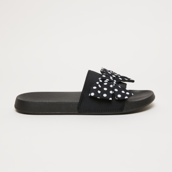 Textured Slides with Polka Dot Printed Bow Detail