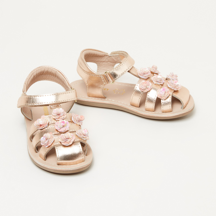 Barefeet Applique Detail Sandals with Hook and Loop Closure