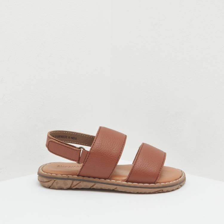 Textured Sandals with Dual Strap and Slingback