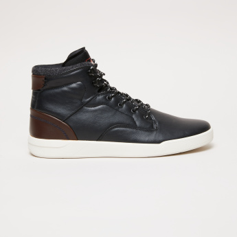 Lee Cooper Textured High Top Shoes with Printed Lace Closure