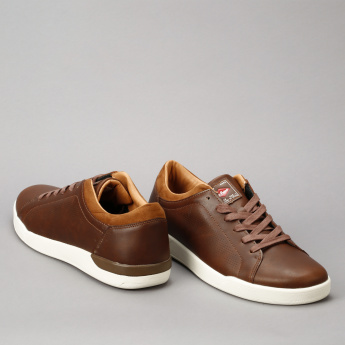 Lee Cooper Lace-Up Sneakers with Laser Cut Detail