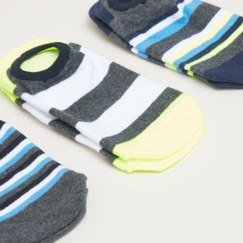 Striped No Show Socks - Set of 3