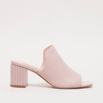 Textured Block Heel Slides