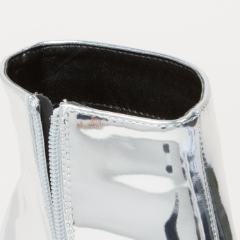 Glossy High Top Boots with Zip Closure