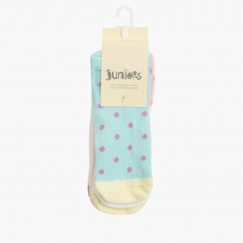 Juniors Polka Dots Printed Ankle Length Socks - Set of 5