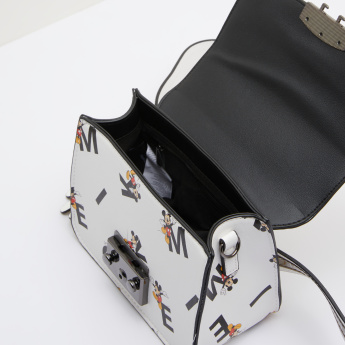 Mickey Mouse Printed Fanny Pack with Metallic Chain Strap