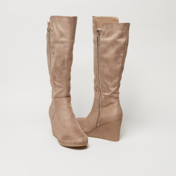 High Top Boots with Wedge Heels and Zip Closure