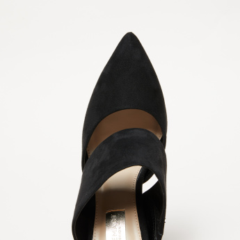 Textured High Heel Slip-On Pumps