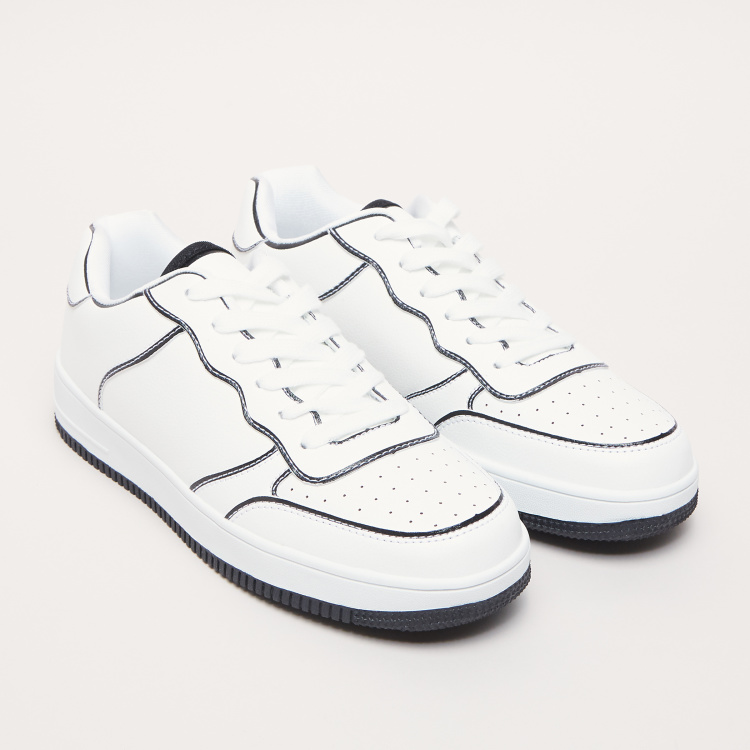 Lace-Up Sneakers with Panels