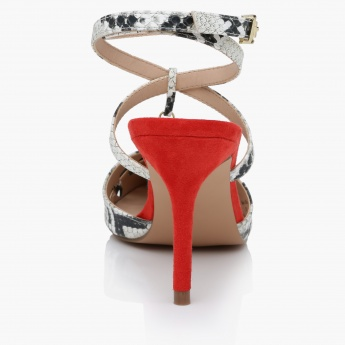Paprika Snake Texture Ankle Strap Sandals