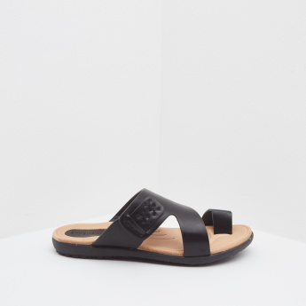 Slip-On Arabic Slides with Toe Ring
