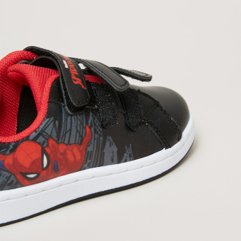 Spider-Man Printed Sneakers with Hook and Loop Closure
