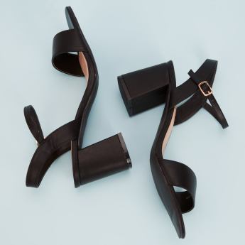Paprika Block Heel Sandals with Buckle Closure