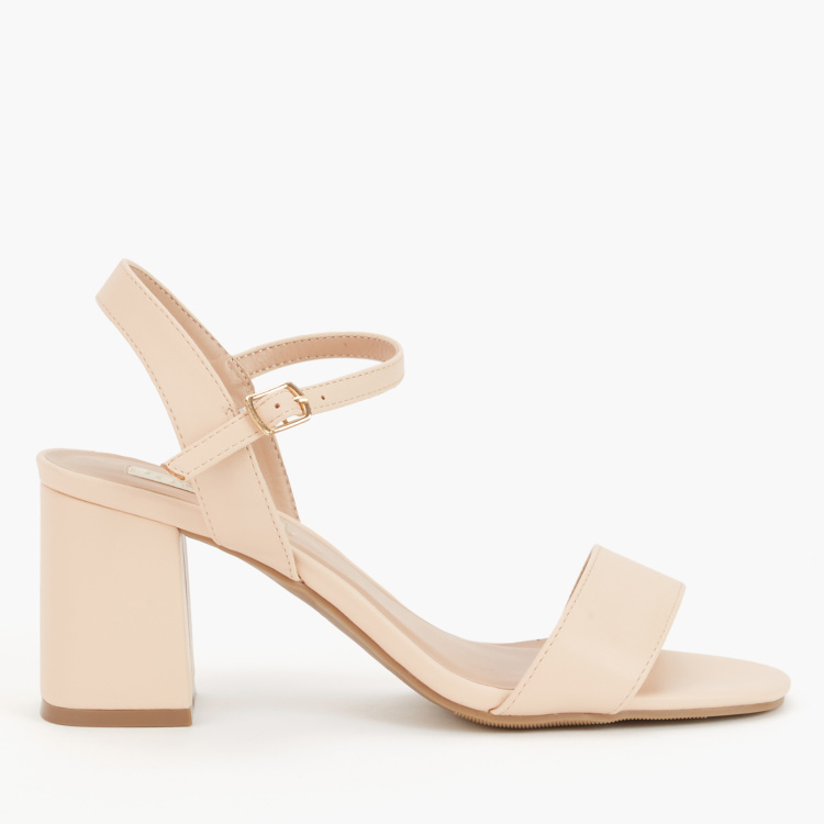 Paprika Block Heel Sandals with Ankle Strap and Buckle Closure