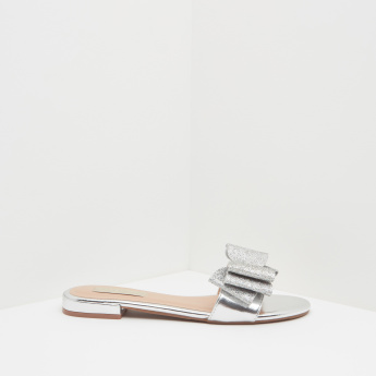 Bow Detailed Sandals with Slip-On Closure