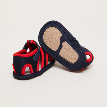 Cutout Detail Sandals with Hook and Loop Closure