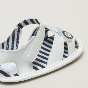 Juniors Applique Detail Sandals with Striped Footbed