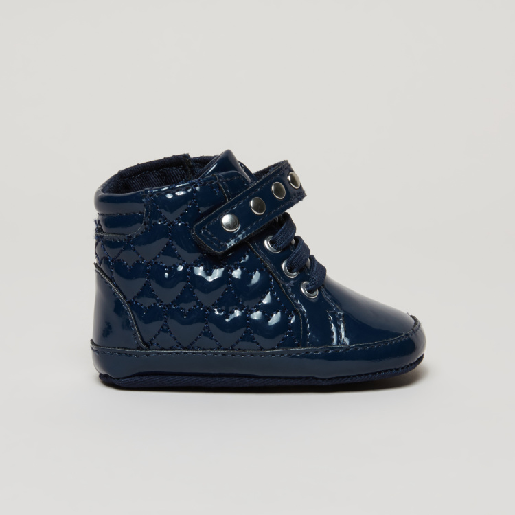 Quilted High Top Boots with Hook and Loop Closure
