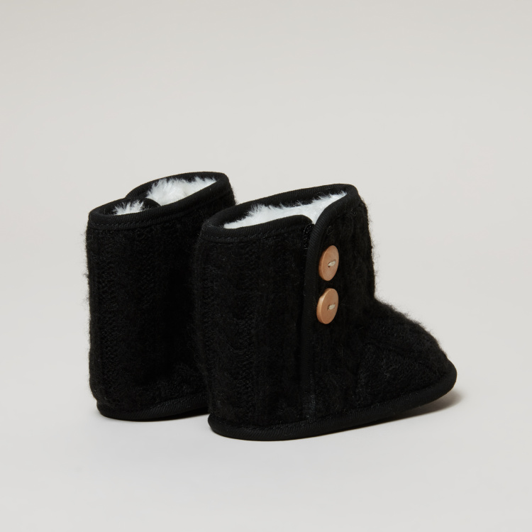 Textured High Top Booties with Hook and Loop Closure
