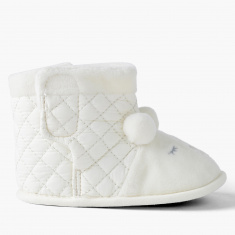 Juniors Quilted High Top Shoes with Plush Detail
