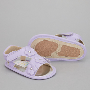 Juniors Flower Applique Sandals with Hook and Loop Closure