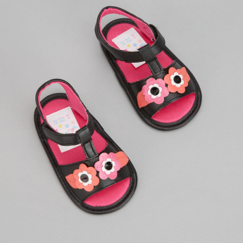 Juniors Sandals with Flower Appliques and Hook and Loop Closure