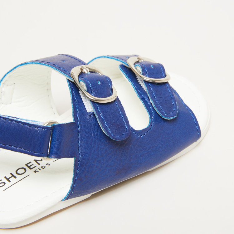 Textured Pin Buckle Detail Sandals with Hook and Loop Closure