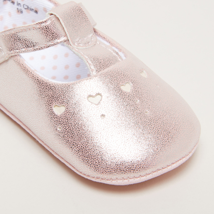 Glitter Mary Jane Shoes with Cutout Detail and Hook and Loop Closure