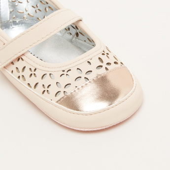 Laser Cut Detail Mary Jane Shoes with Hook and Loop Closure