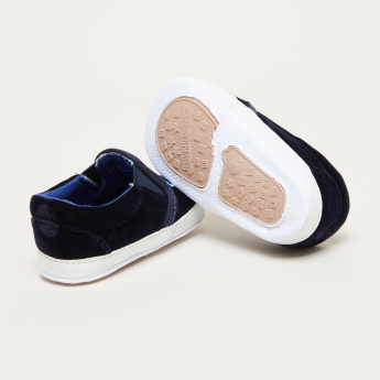 Slip-On Shoes with Patchwork and Stitch Detail