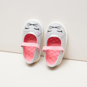 Embroidered Mary Jane Shoes with Quilt Detail