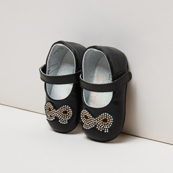 Studded Mary Jane Shoes with Hook and Loop Closure
