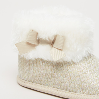 Slip-On High Top Boots with Bow and Plush Detail