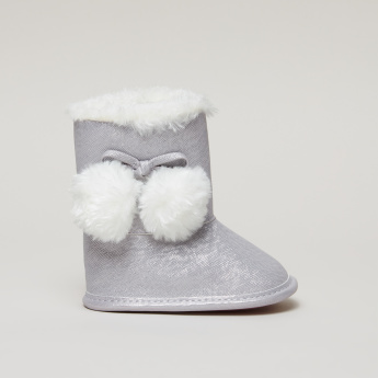 Bow and Pom-Pom Detail High Top Boots with Plush Lining