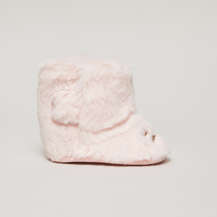 Plush High Top Booties with Hook and Loop Closure