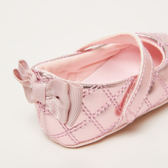 Quilted Mary Jane Shoes with Bow Applique