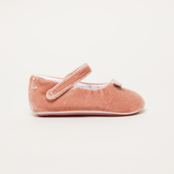 Textured Ballerina Shoes with Bow Detail and Hook and Loop Closure