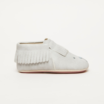 Fringe Detail Slip-On Shoes with Embroidery
