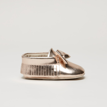 Bow and Fringe Detail Slip-On Shoes
