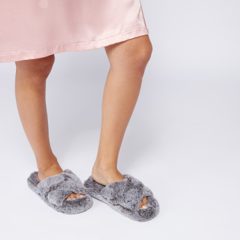 Cross Strap Bedroom Slides with Plush Detail and Textured Outsole