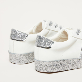 Glitter Detail Lace-Up Sneakers