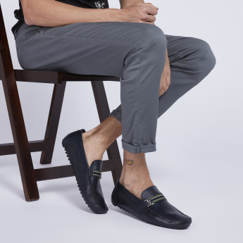 Slip-On Loafers with Vamp Detail and Pebble Sole