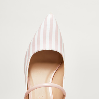 Striped Slip-On Mules with Stiletto Heels
